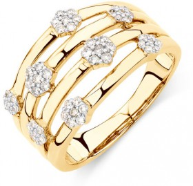 Cluster-Ring-with-13-Carat-TW-of-Diamonds-in-10ct-Yellow-Gold on sale