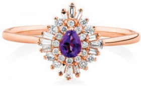 NEW-Ring-with-Natural-Amethyst-0.25-Carat-in-10ct-Rose-Gold on sale
