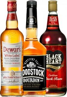 Dewars-Scotch-Whisky-Woodstock-Bourbon-or-Black-Heart-Rum-1L on sale