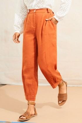 Emerge-Linen-Cuff-Pleat-Crop-Pant on sale