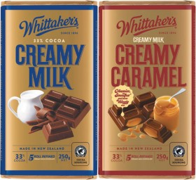 Whittakers-Chocolate-Blocks-250g-or-Share-Packs-180g on sale