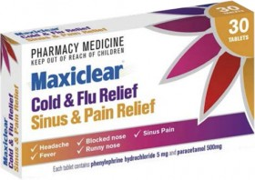 Maxiclear-Cold-Flu-Relief-Sinus-Pain-Relief-30-Tablets on sale