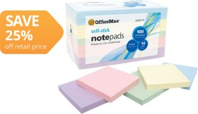 OfficeMax-Pastel-Self-Stick-Notes on sale