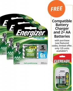 Energizer-Rechargeable-Nickel-Batteries-Bundle-FREE-COMPATIBLE-BATTERY-CHARGER-AND-2-AA-BATTERIES-WITH-PURCHASE on sale