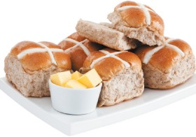 Countdown-Traditional-Fruitless-or-Hersheys-Chocolate-Hot-Cross-Buns-6-Pack-or-Mini-9-Pack on sale