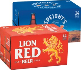 Lion-Red-Speights-Gold-Medal-Ale-or-Speights-Summit-Ultra-Bottles-24-Pack on sale
