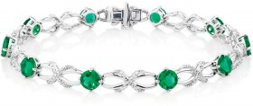 Bracelet-with-Created-Emerald-and-0.03-Carat-TW-of-Diamonds-in-Sterling-Silver on sale