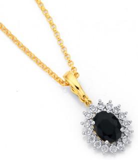 9ct-Sapphire-Diamond-Pendant on sale