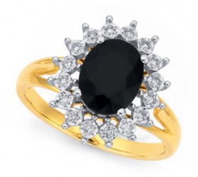 9ct-Sapphire-Diamond-Oval-Ring on sale