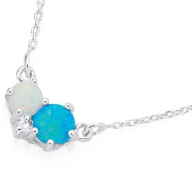 Sterling-Silver-Cubic-Zirconia-Created-Opal-Necklet on sale