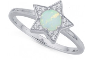 Sterling-Silver-Cubic-Zirconia-Created-Opal-Star-Ring on sale