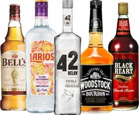 Bells-Blended-Scotch-Whisky-1L-Larios-Dry-Gin-1L-42-Below-Vodka-Range-700ml-Woodstock-Bourbon-1L-or-Black-Heart-Rum-1L on sale