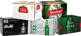 Stella-Artois-Steinlager-Classic-Asahi-Dry-Export-33-or-Steinlager-Pure-24-x-330ml-Bottles on sale