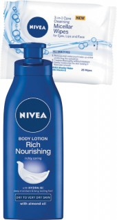 Nivea-Rich-Nourishing-Body-Lotion-400ml-or-Facial-Wipes-25-Pack on sale