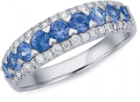 9ct-White-Gold-Ceylon-Sapphire-Diamond-Ring on sale