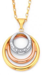 9ct-Tri-Tone-Diamond-Circles-Pendant on sale