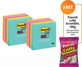 Post-it-Super-Sticky-Notes-FREE-PASCALL-LOLLY-SCRAMBLE-185G-WITH-PURCHASE on sale