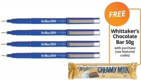 Artline-200-FineLiner-Pens-FREE-WHITTAKERS-CHOCOLATE-BAR-50G-WITH-PURCHASE on sale