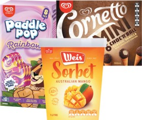 Streets-Paddle-Pops-Cyclone-8-Pack-Calippo-Ice-Blocks-10-Pack-Cornetto-Minis-6-8-Pack-or-Weis-Sorbet-1L on sale