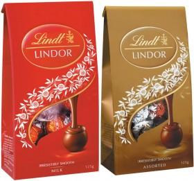 Lindt-Lindor-Pouches-123-130g on sale