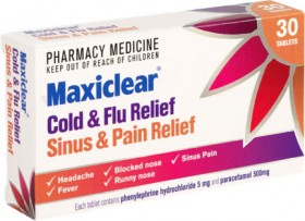 Maxiclear-Cold-Flu-Sinus-Pain-Relief-30-Tablets on sale
