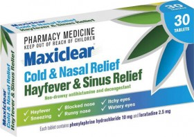 Maxiclear-Cold-Nasal-Hayfever-Sinus-Relief-30-Tablets on sale