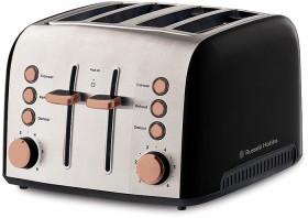 Russell-Hobbs-Brooklyn-BlackCopper-Colour-4-Slice-Toaster on sale